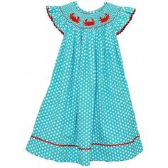 Smocked Turquoise Polka Dot Crab Dress PRE-ORDER
