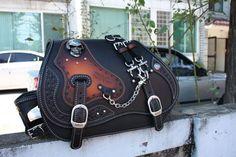 hand-made custom SKULL SaddleBag leather saddle bag softail chopper motorcycle in Luggage & Saddlebags | eBay