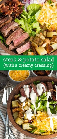 Love steak and potatoes? Try this easy Steak and Potato Salad. Oven fried potatoes tender steak cheese onion and bacon all on top of a bed of spring lettuce. Don't forget the simple dressing! Salad Recipes For Dinner, Summer Salad Recipes, Dinner Salads, Paleo Dinner, Steak Salad Dressing, Salad Dressing Recipes, Salad Dressings, Oven Fried Potatoes, Steak Potatoes