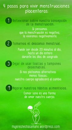 Infografía 4 Pasos para vivir una menstruación placentera. Menstruar sin dolor, es posible. | Hecha a Mano #MenstruaciónConsciente #CicloMenstrual