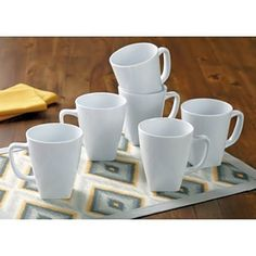 Set of 6 White Square Mugs Mothers Day Gift Top Quality Kitchen Drinkware New  #BetterHomesandGardens