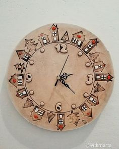 Hand Thrown Pottery, Wooden Clock, Bellisima, Painted Rocks, Clay, Watches, Gifts, Home Decor, Instagram