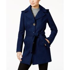 Michael Michael Kors Petite Wool-Blend Hooded Walker Coat ($140) ❤ liked on Polyvore featuring outerwear, coats, sapphire, evening coat, blue coat, michael kors coats, michael kors and hooded coat