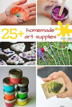 Homemade Art Supplies ⋆ Sugar, Spice and Glitter - Homemade Art Supplies – easy homemade paint recipes, homemade play doughs, and more! Homemade Clay, Homemade Paint, Homemade Playdough, How To Make Homemade, Diy Crafts For Kids, Crafts To Sell, Art For Kids, Arts And Crafts, Diy Crafts Videos