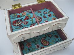 Shabby Chic White Painted Jewelry Box with Turquoise & Red fabric lining
