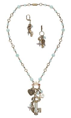 Single-Strand Necklace and Earring Set with SWAROVSKI ELEMENTS, Vitrium® Clay and Metal Charms and Drops