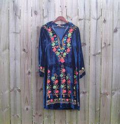 M L Medium Large Vintage 60s 70s Blue Velvet Indian Ethnic
