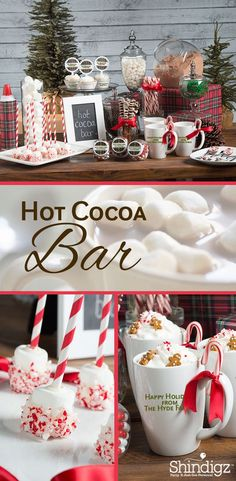 Winter Party Cocoa Bar - Hot Chocolate Bar Items & Hot Cocoa Bar Supplies - seasons - Jahreszeiten - Feste - There aren't too many people that will complain if you break out a hot cocoa bar at your next even - Christmas Brunch, Christmas Goodies, Christmas Treats, Christmas Fun, Christmas Decorations, Christmas Dinner Food Ideas, Christmas Party Ideas For Adults, Fun Christmas Party Ideas, Christmas Baby Shower
