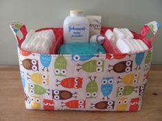 NEW Fabric Diaper Caddy - Fabric organizer storage bin basket - Perfect for your nursery - Urban Zoologie Owls Bermuda. $46.00, via Etsy.