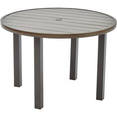 Better Homes And Gardens Camrose Farmhouse Outdoor Mix Match Steel Slat Round Table Image 1
