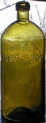 U.S.A. / HOSP. DEPT.   These USA Hospital bottles were used during the Civil War by Union doctors. This citron color is rare for these bottles.