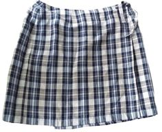 Talbots Women's Size 14 Blue/Gray Plaid Wrap Skirt Irish Linen #Talbots #Wrap #casual