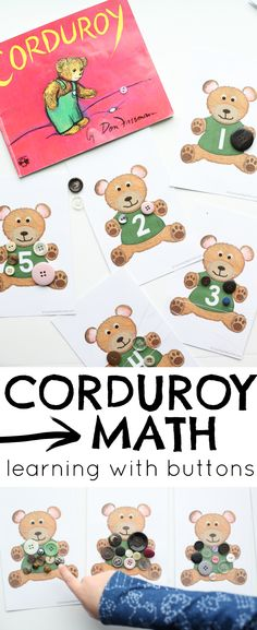 Have fun with some Corduroy Math after reading the book by Don Freeman. Free printables work on correspondence, number recognition, and skip counting! Bears Preschool, Preschool Books, Kindergarten Math, Toddler Preschool, Preschool Activities, Stem Preschool, Montessori Toddler, Preschool Curriculum, Toddler Fun