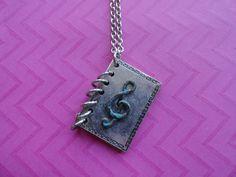 Music note book locket long vintage metal necklace