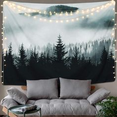 BLEUM CADE Misty Forest Tapestry Mountain Tapestry Wall Hanging Fantastic Fog Magical Trees Tapestry Nature Landscape Tapestry for Bedroom Living Room Dorm (Misty Forest with Mountain, x Tapestry Nature, Tree Tapestry, Tapestry Bedroom, Mandala Tapestry, Tapestry Wall Hanging, Bedroom Wall, Wall Hangings, Space Tapestry, Trippy Tapestry