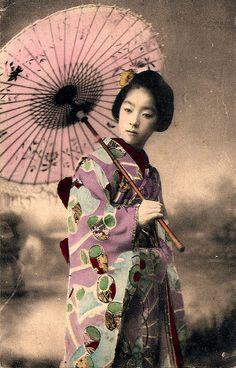 Geisha Girl & Her Japanese Umbrella