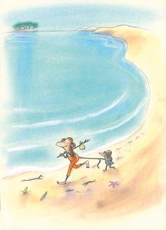cover illustration for Aap & Mol gaan naar zee/Monkey & Mole by the seaside