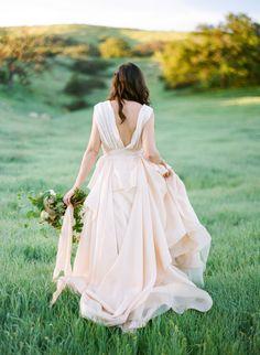 Dreamy blush wedding gown: http://www.stylemepretty.com/california-weddings/agoura-hills/2016/05/19/agoura-hills-sunrise-bridal-shoot/ | Photography: Samantha Kirk - http://www.samanthakirkphotography.com/