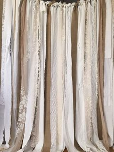Lovely Burlap Garland Curtain Stunning burlap Backdrop...perfect for event and then for window treatment!!  White, Off White, Ecru, and a