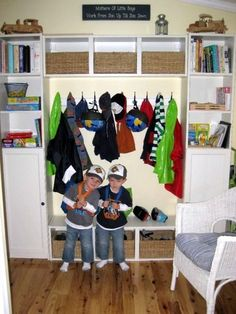 Mudroom Storage Unit using Ikea Billy bookcases, wall shelves, and doors http://www.ikea.com/us/en/catalog/products/40085709/#/40085714, http://www.ikea.com/us/en/catalog/products/00116680/, http://www.ikea.com/us/en/catalog/products/90181360/#/00181393