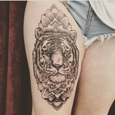 First thigh tattoo, design found on girls Instagram that used too work at Bondi Ink, but my tattooist changed it around and made the tiger look more realistic then the design I showed him. Tattoo took 7 hours!