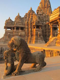 Khajuraho, India. The Khajuraho Group of Monuments are a group of Hindu and Jain temples in Madhya Pradesh, India. Most Khajuraho temples were built between 950 and 1050 AD