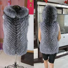 Real Silver Fox Fur Vest Waistcoat With Hood Women Jacket Outerwear Warm Coat #BF