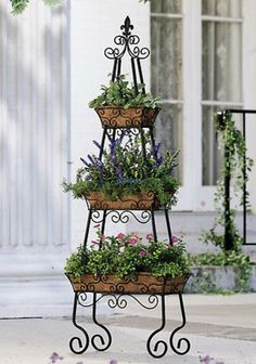Pyramid patio planter herb garden! Tiered container garden.