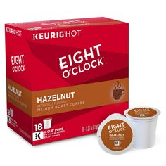 Eight O'Clock Hazelnut Medium Roast Coffee - K-Cup Pods - 18ct