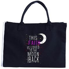 This Faith Is Loved To The Moon And Back Christmas  Tote Bag >>> You can find more details by visiting the image link. #XmasStorageOrganization