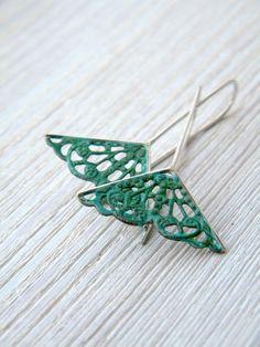 Verdigris filigree earrings by alibli from Italy
