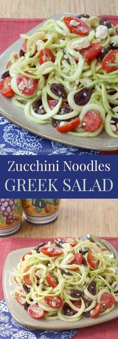 Zucchini Noodles Greek Salad light Mediterranean zoodles with olives and feta are a healthy side dish or meatless meal cupcakesandkalech vegetarian gluten free low car. Zoodle Recipes, Spiralizer Recipes, Veggie Recipes, Low Carb Recipes, Diet Recipes, Vegetarian Recipes, Cooking Recipes, Healthy Recipes, Vegetarian Dinners
