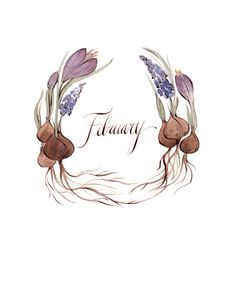 February wreath by Kelsey Garrity Riley (via Etsy). Wallpaper Gratis, Happy February, Illustration Art, Illustrations, Groundhog Day, Months In A Year, Pics Art, Journal Inspiration, Watercolor Flowers