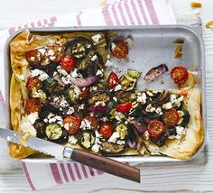 Crispy filo pastry makes a light base for a vegetarian tart filled with Mediterranean veg and feta