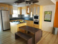 cocina moderna de madera de diseño simple mesa