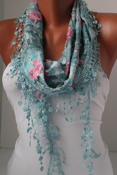Blue Shawl Scarf  Headband Cowl with Lace Edge/Spring  by DIDUCI, $15.00