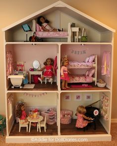 american girl house Listing is for an electronic pdf file of plans only - not actual dollhouse This listing is for a pdf file American Girl Doll or 18 inch doll House plans. My hus Casa American Girl, American Girl Crafts, American Girls, American Girl Doll Room, American Girl Dollhouse, American Girl Furniture, American Girl Storage, Ag Doll House, Doll House Plans