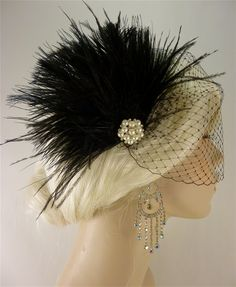 Wedding Bridal Fascinator, Bridal Fascinator, Feather Fascinator , Wedding Veil, Bridal Headpiece - The Couture Bride - perfect with an ivory gown and black sash