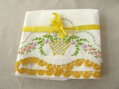 Vintage Embroidered Pillowcases by PassedBy on Etsy, $19.00