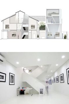 """House N° 15 - An important feature of this design is the addition of a """"living gallery"""" and bedrooms at the rear of the existing shophouse.  This is designed in a striking massing, such that the bedrooms appear to be suspended above the Living Gallery.  A feature bedroom is fitted with windows, such that it can look down on the gallery from above."""