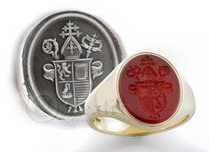 Bishops Seal Engraved on a Cornelian Gemstone