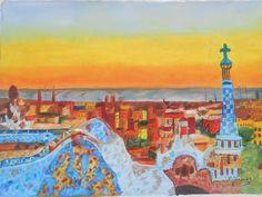 Autor :Manoli Tapias  Titulo: Parque Guell de  Gaudi         Técnica: óleo lienzo a pincel y arena Medidas: 47 x 32 Soporte: Lienzo sobre bastidor madera  http://arttapias.blogspot.com.es/