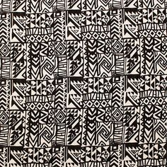 "Black Natural White Aztec Squares Cotton Jersey Blend Knit Fabric - Black aztec ethnic square design on a natural white cotton jersey rayon blend knit.  Fabric is light weight with a nice stretch.  Pattern repeat is 6 1/2"".  ::  $6.00"