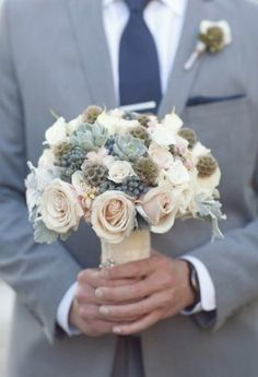 dusty miller succulent bouquet