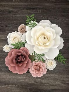 SVG Style Rose Template Bundle (upload to cutting machine) Paper Flower Backdrop Paper Flower Centerpiece by APaperEvent Paper Flower Centerpieces, Paper Flower Decor, Paper Flower Backdrop, Giant Paper Flowers, Flower Wall Decor, Felt Flowers, Flower Crafts, Diy Flowers, Flower Decorations