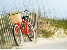 red beach cruiser, I would love a basket on my bike Sullivans Island South Carolina, Paradis Tropical, Les Hamptons, Red Beach, Beach Bum, Beach Gear, Cruiser Bicycle, Tybee Island, Coronado Island