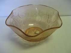 "Indiana Glass Tiara Exclusives Pink Rose Sandwich Pattern 10"" Serving Bowl USA #IndianaGlass"