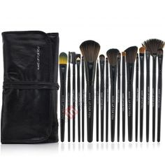 18 PCS Professional Makeup Brush Set   Black Leather Case Make Up Brush - Black US$21.68