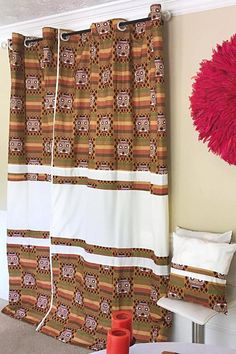 Salama Afritude African Print Grommet Top Curtains- Brown/ Off-white – Afrilege