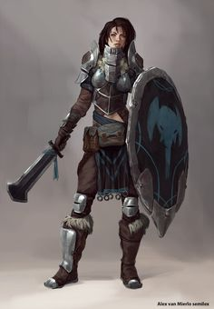 Female human knight fighter. I think that sword might be reskinned as a khopesh. Otherwise, a broadsword would also work. I assume the elephantine motif is related to the Shaar and possibly the loxo from that region.